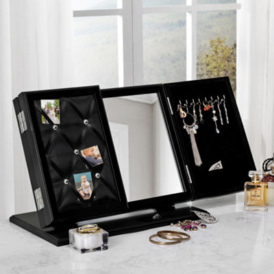 Inspired Home Regina Modern Contemporary 3-in-1 Trifold Tabletop Vanity Mirror with Jewelry Storage and Memo Board