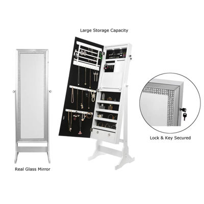Inspired Home Shimmer Full Length Jewelry Cheval Armoire Makeup Storage Organizer Crystal Border Lockable with LED Lights