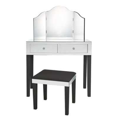 Inspired Home Primrose Modern Contemporary 3-Piece Vanity Set with Trifold Mirror