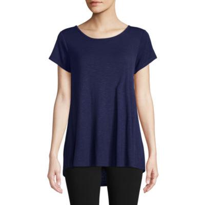 St. John's Bay Active Short Sleeve Crew Neck T-Shirt-Womens
