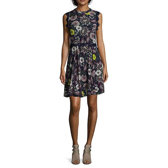 Libby Edelman Sleeveless Floral Swing Dress