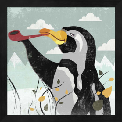 Metaverse Art Penguin Stroll Framed Wall Art
