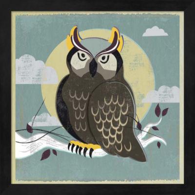 Metaverse Art Perched Owl Framed Wall Art