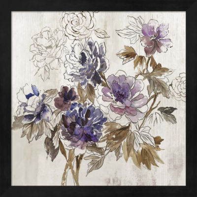 Metaverse Art Plum Floral I Framed Wall Art