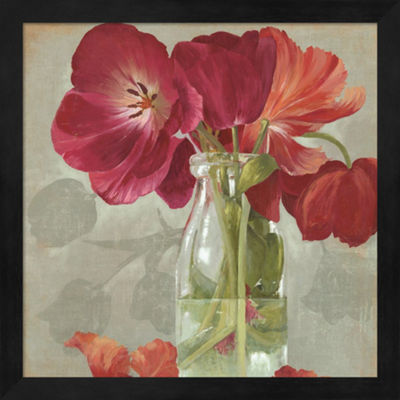 Metaverse Art Glass Flowers II Framed Wall Art