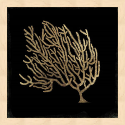Metaverse Art Gold Coral II Framed Wall Art