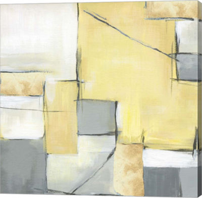 Metaverse Art Golden Abstract II Canvas Art