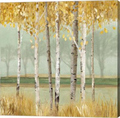 Metaverse Art Golden Birch Canvas Art