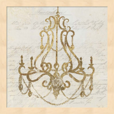Metaverse Art Golden Chandelier I Framed Wall Art