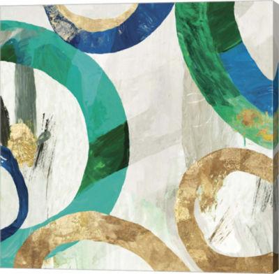 Metaverse Art Green Rings I Canvas Art