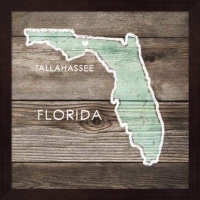 Metaverse Art Florida Rustic Map Framed Wall Art