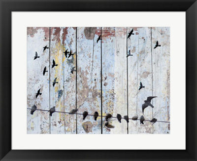Metaverse Art Birds on Wood III Framed Wall Art