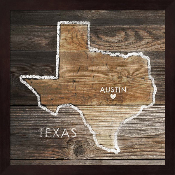 Metaverse Art Texas Rustic Map Framed Wall Art
