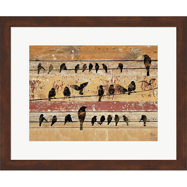 Metaverse Art Birds on Wood V Framed Wall Art