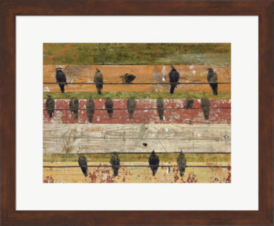 Metaverse Art Birds on Wood VI Framed Wall Art