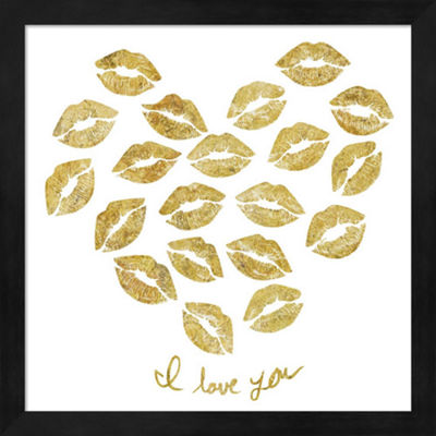 Metaverse Art I Love you Gold Lips Framed Wall Art