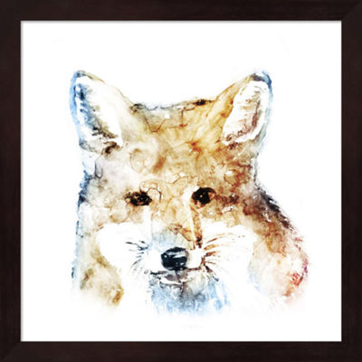 Metaverse Art Watercolour Fox Framed Wall Art