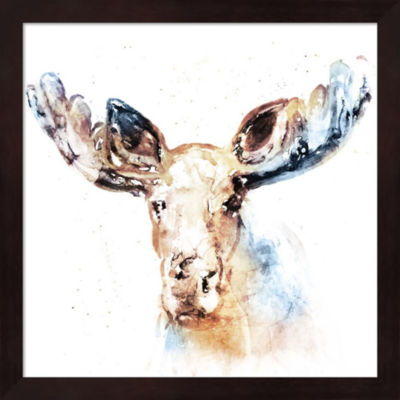 Metaverse Art Watercolour Moose Framed Wall Art