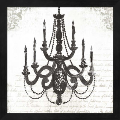 Metaverse Art Black Chandelier I Framed Wall Art
