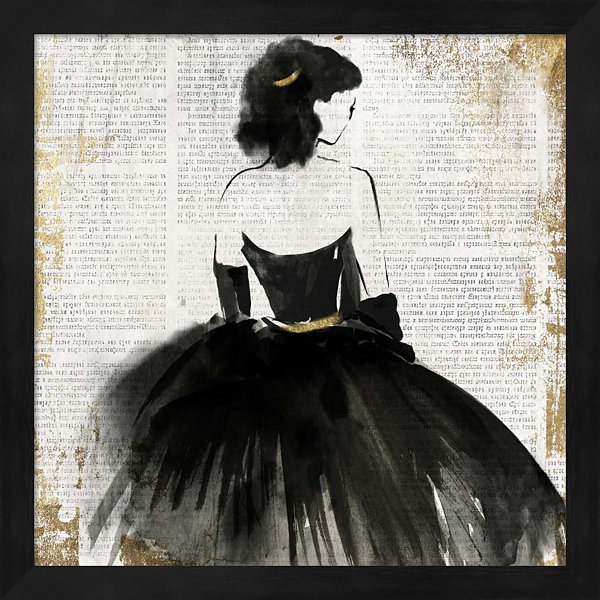Metaverse Art Lady in Black Dress Framed Wall Art