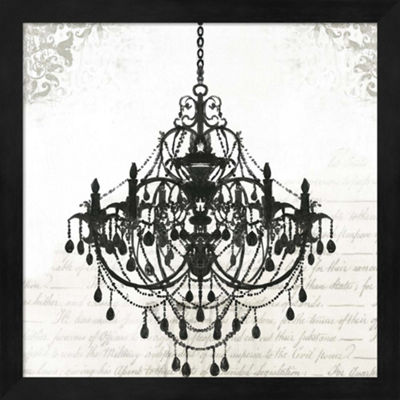 Metaverse Art Black Chandelier II Framed Wall Art