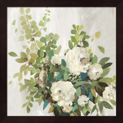Metaverse Art White Roses Framed Wall Art
