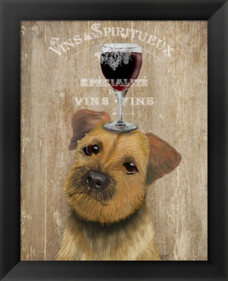 Metaverse Art Dog Au Vin Border Terrier Framed Wall Art
