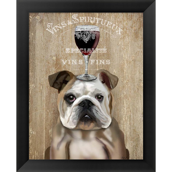 Metaverse Art Dog Au Vin English Bulldog Framed Wall Art
