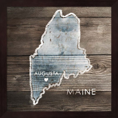 Metaverse Art Maine Rustic Map Framed Wall Art