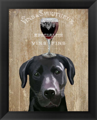 Metaverse Art Dog Au Vin Black Labrador Framed Wall Art