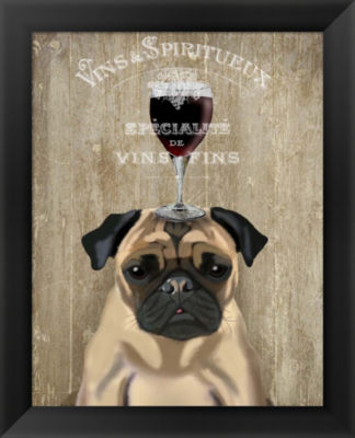 Metaverse Art Dog Au Vin Pug Framed Wall Art