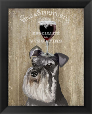 Metaverse Art Dog Au Vin Schnauzer Framed Wall Art