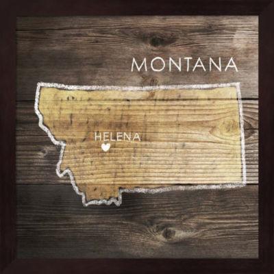 Metaverse Art Montana Rustic Map Framed Wall Art