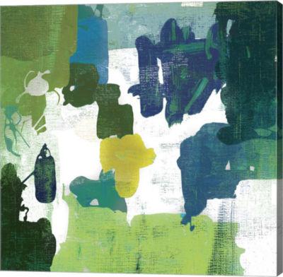 Metaverse Art Block Paint I Green Canvas Art