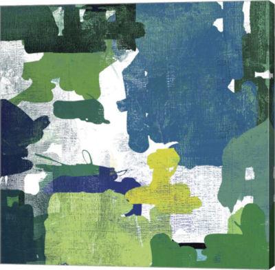 Metaverse Art Block Paint II Green Canvas Art