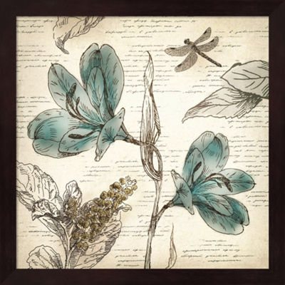 Metaverse Art Blooming Teal I Framed Wall Art