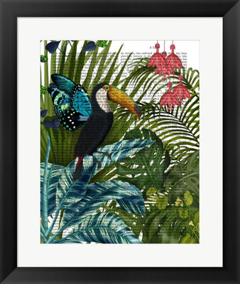 Metaverse Art Toucan in Tropical Forest Framed Wall Art