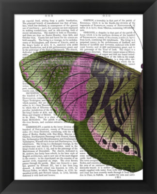 Metaverse Art Butterfly in Green and Pink a FramedWall Art