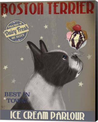 Metaverse Art Boston Terrier Ice Cream Canvas WallArt