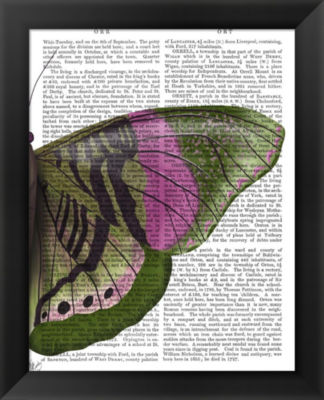 Metaverse Art Butterfly in Green and Pink b FramedWall Art