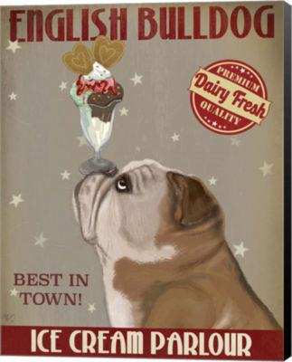 Metaverse Art English Bulldog Ice Cream Canvas Wall Art