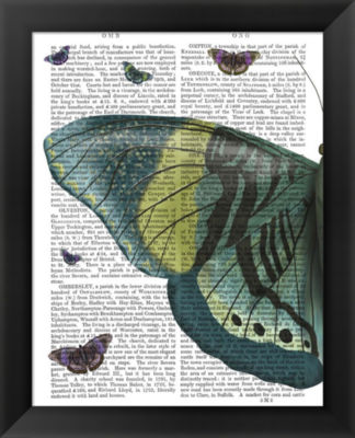 Metaverse Art Butterfly in Turquoise and Yellow aFramed Wall Art