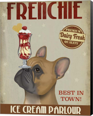 Metaverse Art French Bulldog Ice Cream Canvas WallArt