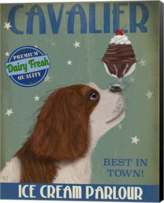 Metaverse Art Cavalier King Charles Brown White Ice Cream Canvas Wall Art
