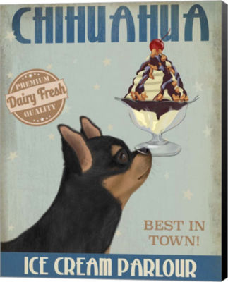 Metaverse Art Chihuahua Black and Ginger Ice CreamCanvas Wall Art