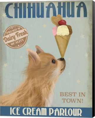 Metaverse Art Chihuahua Long Haired Ice Cream Canvas Wall Art