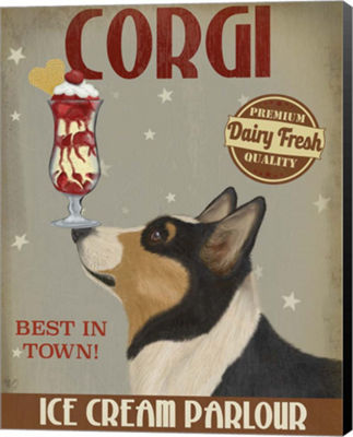 Metaverse Art Corgi Black and Tan Ice Cream CanvasWall Art