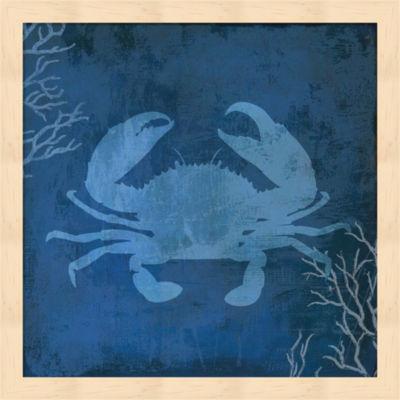 Metaverse Art Navy Sea Crab Framed Wall Art