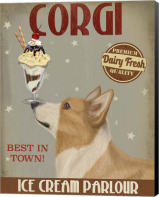 Metaverse Art Corgi Tan Ice Cream Canvas Wall Art