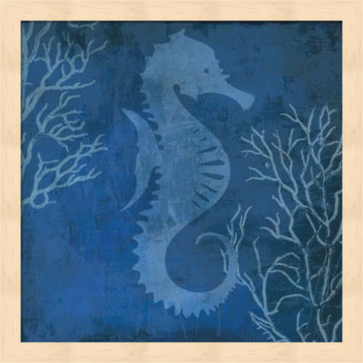 Metaverse Art Navy Sea horse Framed Wall Art